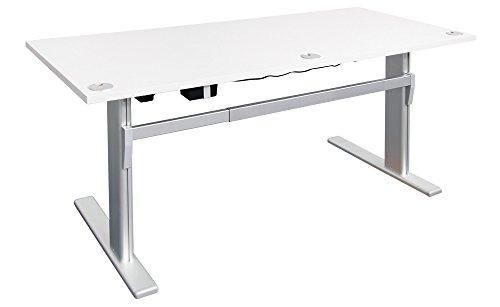 Höhenverstellbarer Schreibtisch Ergonomisch Elektrisch B 180 cm x T 80 cm Bürotisch Arbeitstisch Workstation Arbeitszimmer (B 180 cm x T 80 cm, Weiß)