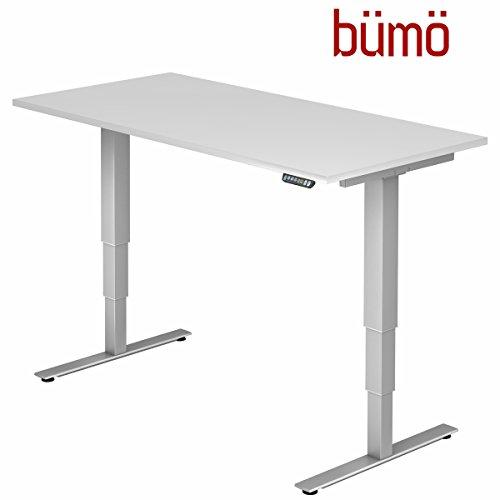 Bümö® ergonomischer Schreibtisch elektrisch höhenverstellbar | elektrischer Bürotisch | höhenverstellbarer Büroschreibtisch mit Memoryfunktion in Rechteck: 160x80 cm Weiß