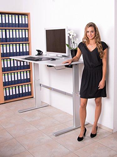 Schreibtisch höhenverstellbar in Lichtgrau Ergonomisch Elektrisch B 160 cm x T 80 cm Bürotisch Arbeitstisch | elektrisch höhenverstellbarer Büroschreibtisch |