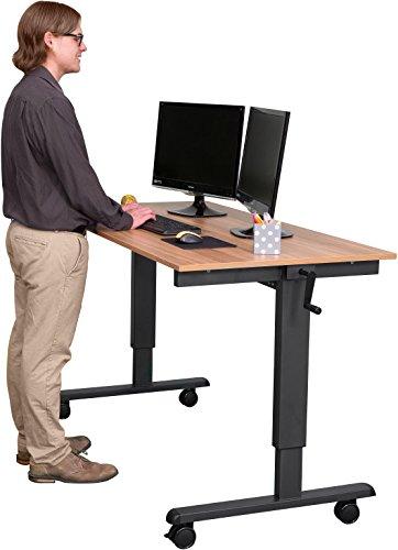 Höhenverstellbarer Schreibtisch (Rahmen anthrazit / Natürliche Walnuss, Schreibtisch Länge: 150cm)