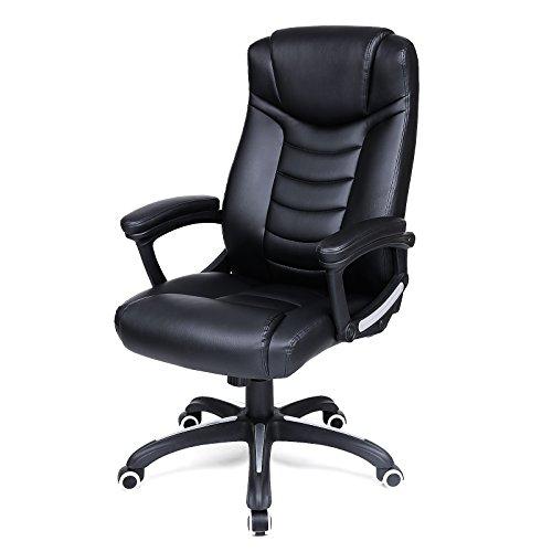 Songmics schwarz Bürostuhl Chefsessel Bürodrehstuhl hoher sitzkomfort OBG21B
