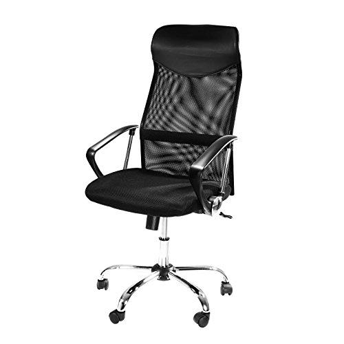 Design Bürostuhl mit Kopfstütze, Netzrücken, Wippfunktion & Armlehne - ergonomisch, höhenverstellbar - schwarz