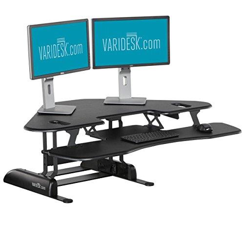 Bürozellen-Sitz-Steh-Schreibtisch – Bürozellen-Steharbeitsplatz - VARIDESK Cube Corner 48 für zwei große Monitore - Schwarz