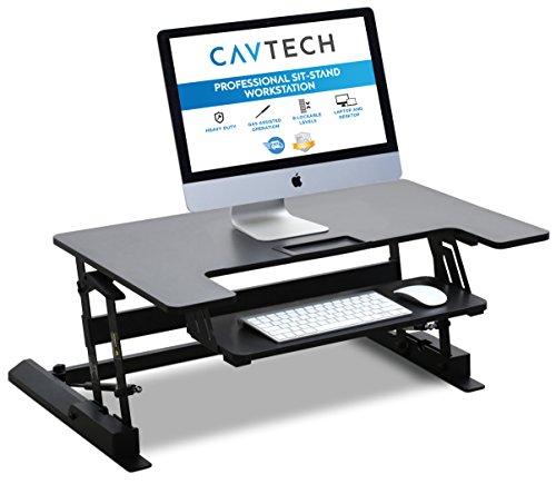 Höhenverstellbarer Sitz-Steh-Schreibtisch von CavTech | Stand Up Desk Computer Laptop Stehpult | Professionelle Workstation Für Gesundes Arbeiten| 3 Jahre Herstellergarantie | Modell: EI-01
