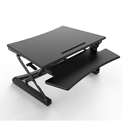 ERGONEER vorkonfektionierter Gesunde Sitz-Steh-Erhebend Computer-Arbeitsplatz | Ergonomie Komfort Tabletop Stehpult Converter | Höhenverstellbare Desktop-Riser mit Squeeze Griffe (89CM)