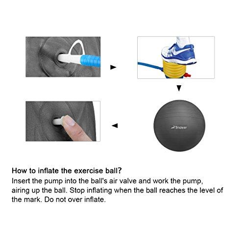 Dick Anti-Burst Gymnastikball Sitzball Pezziball inkl. Ballpumpe, Schwarz, 65cm ( Geeignet für 162-179cm ) - 4