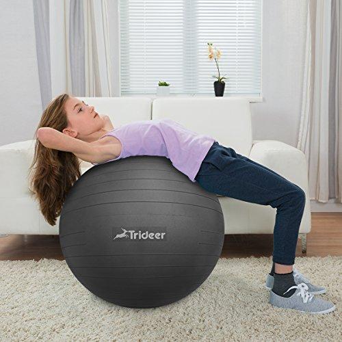 Dick Anti-Burst Gymnastikball Sitzball Pezziball inkl. Ballpumpe, Schwarz, 65cm ( Geeignet für 162-179cm ) - 7