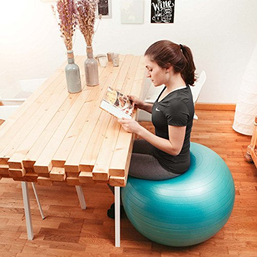 Gymnastik-Ball »Pluto« / Robuster Sitzball und Fitnessball / 65 cm / türkis - 2