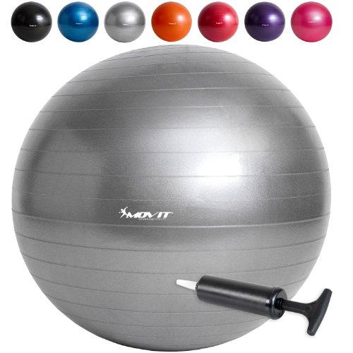 MOVIT Gymnastikball mit Pumpe Fitnessball Sitzball 65 cm in silber, Maximalbelastbarkeit bis 300kg, Anti Burst Material