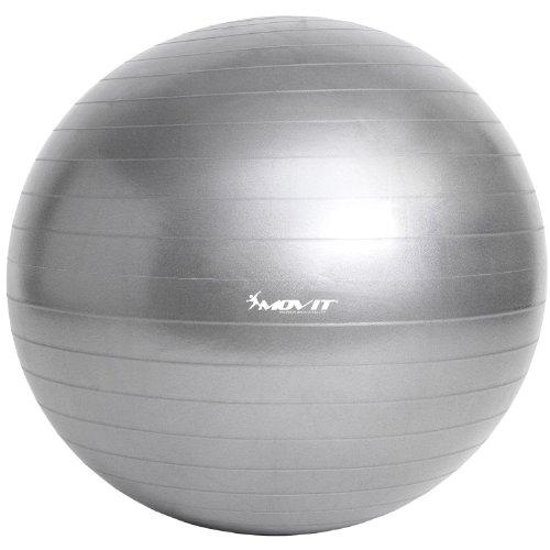 MOVIT Gymnastikball mit Pumpe Fitnessball Sitzball 65 cm in silber, Maximalbelastbarkeit bis 300kg, Anti Burst Material - 3