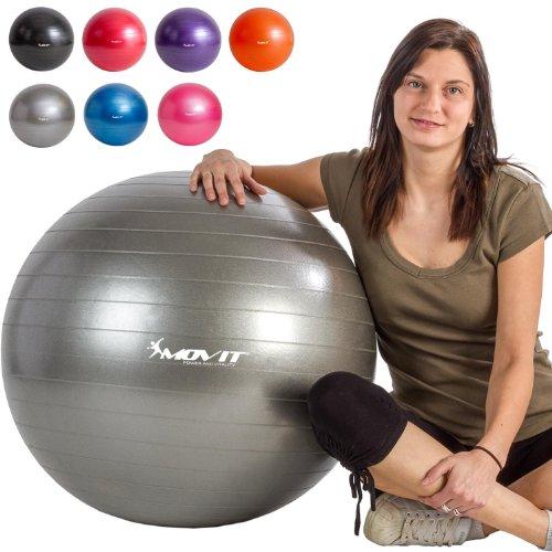 MOVIT Gymnastikball mit Pumpe Fitnessball Sitzball 65 cm in silber, Maximalbelastbarkeit bis 300kg, Anti Burst Material - 5