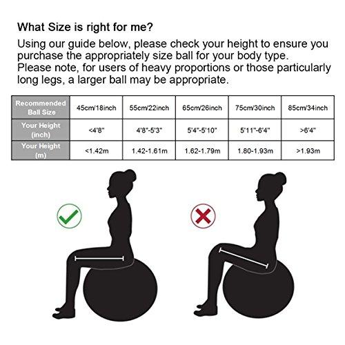 Anti-Burst Gymnastikball von 65cm 75cm mit Ballschale( Aufblasbaren Ring) oder Widerstandsbänder inkl. Ballpumpe, Sitzball Pezziball als Fitness Kleingeräte und Balance Stuhl im Gym-Home-Büro - 2