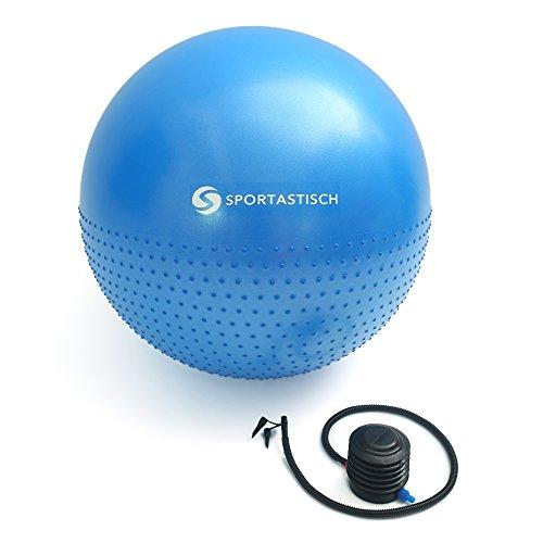 """Premium Gymnastikball """"Massage Gym Ball"""" von Sportastisch :: Yogaball mit 2 Oberflächen für ideales Fitnesstraining :: Farbe: BLAU :: INKLUSIVE Fußpumpe :: Durchmesser 65cm :: mit Noppen für angenehmen Massageeffekt :: max. Belastung bis zu 250 kg :: kostenloses eBook :: geprüfte Markenqualität :: ideal für Einsteiger oder Profis :: Exklusives Design :: Perfekt geeignet für Zuhause oder im Büro :: inklusive 3 Jahren Sportastisch Produktgarantie"""