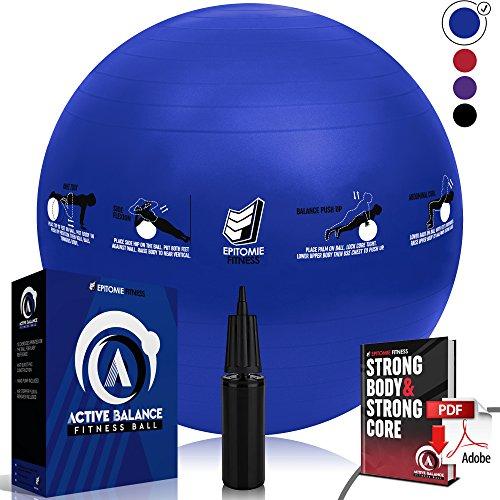 Active Balance Swiss Ball – Robuster Gymnastikball mit gedruckten Übungen & Trainings-eBuch - Der beste Trainingsball für Yoga, Stabilitätsübungen & Pilates. Auch als Sitzball verwendbar