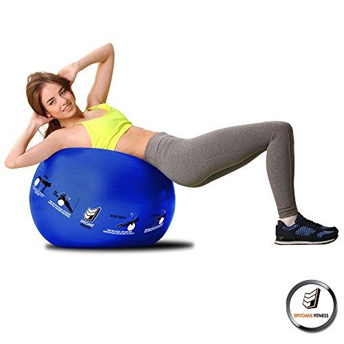 Active Balance Swiss Ball – Robuster Gymnastikball mit gedruckten Übungen & Trainings-eBuch - Der beste Trainingsball für Yoga, Stabilitätsübungen & Pilates. Auch als Sitzball verwendbar - 4