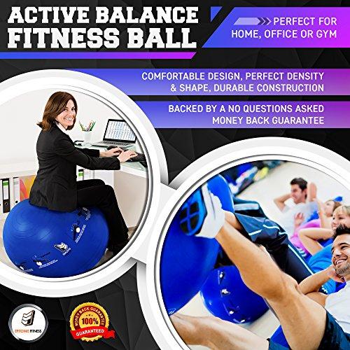 Active Balance Swiss Ball – Robuster Gymnastikball mit gedruckten Übungen & Trainings-eBuch - Der beste Trainingsball für Yoga, Stabilitätsübungen & Pilates. Auch als Sitzball verwendbar - 8