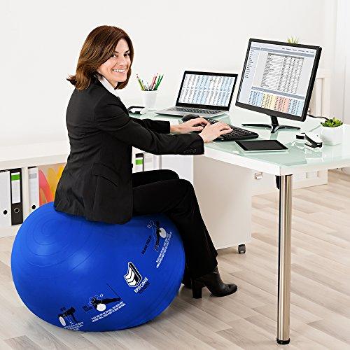 Active Balance Swiss Ball – Robuster Gymnastikball mit gedruckten Übungen & Trainings-eBuch - Der beste Trainingsball für Yoga, Stabilitätsübungen & Pilates. Auch als Sitzball verwendbar - 9