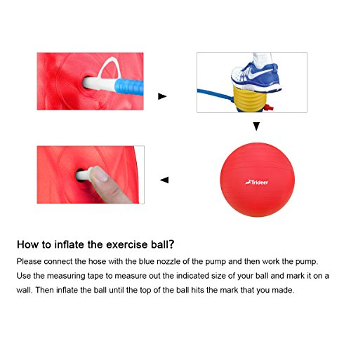 Trideer Robuster Gymnastikball Sitzball Pezziball von 45cm 55cm 65cm 75cm & 85cm inkl. Ballpumpe - 4