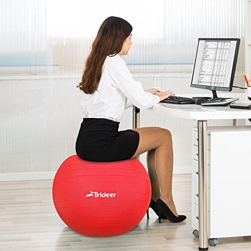 Trideer Robuster Gymnastikball Sitzball Pezziball von 45cm 55cm 65cm 75cm & 85cm inkl. Ballpumpe - 8