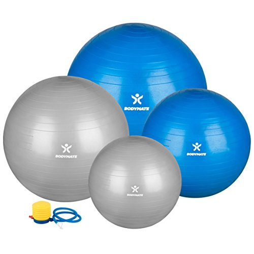 BODYMATE Gymnastikball / Fitnessball - BLAU 65cm - Premium Yoga-Ball für Yoga & Pilates Core-Training inkl. Luftpumpe - Belastbar bis 300kg, Verfügbar in den Größen 55, 65, 75, 85-cm