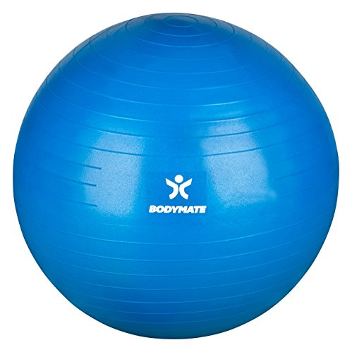 BODYMATE Gymnastikball / Fitnessball - BLAU 65cm - Premium Yoga-Ball für Yoga & Pilates Core-Training inkl. Luftpumpe - Belastbar bis 300kg, Verfügbar in den Größen 55, 65, 75, 85-cm - 2