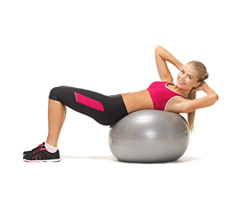 BODYMATE Gymnastikball / Fitnessball - BLAU 65cm - Premium Yoga-Ball für Yoga & Pilates Core-Training inkl. Luftpumpe - Belastbar bis 300kg, Verfügbar in den Größen 55, 65, 75, 85-cm - 5