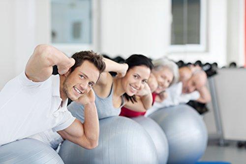 BODYMATE Gymnastikball / Fitnessball - BLAU 65cm - Premium Yoga-Ball für Yoga & Pilates Core-Training inkl. Luftpumpe - Belastbar bis 300kg, Verfügbar in den Größen 55, 65, 75, 85-cm - 6