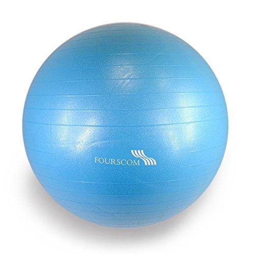 FOURSCOM® Gymnastikball mit Pumpe 75CM Berstsicher Fitnessball Yoga Ball Blau