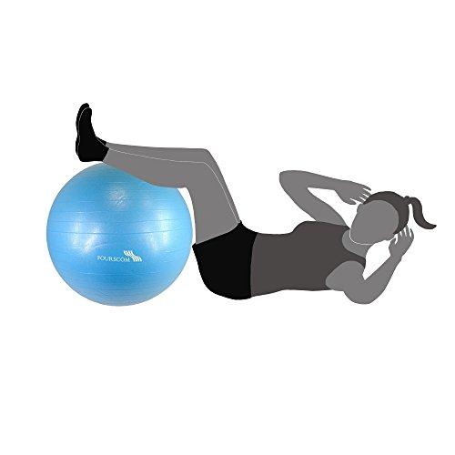 FOURSCOM® Gymnastikball mit Pumpe 75CM Berstsicher Fitnessball Yoga Ball Blau - 5