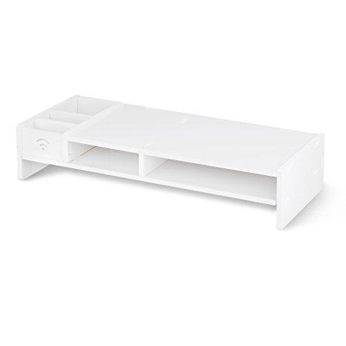 Finether Monitorständer Bildschirmständer Tischaufsatz Schreibtischaufsatz Schreibtischregalfür Monitorerhöhung Bildschirmerhöhung aus WPC weiß 48 x 20 x 10 cm