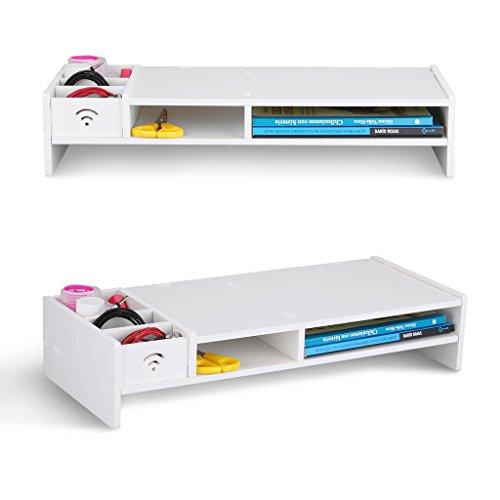 Finether Monitorständer Bildschirmständer Tischaufsatz Schreibtischaufsatz Schreibtischregalfür Monitorerhöhung Bildschirmerhöhung aus WPC weiß 48 x 20 x 10 cm - 2