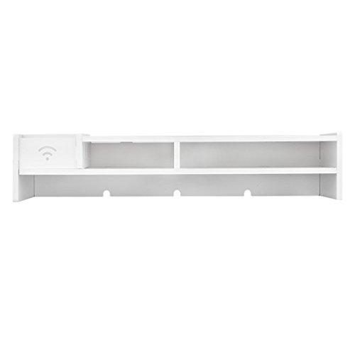 Finether Monitorständer Bildschirmständer Tischaufsatz Schreibtischaufsatz Schreibtischregalfür Monitorerhöhung Bildschirmerhöhung aus WPC weiß 48 x 20 x 10 cm - 8