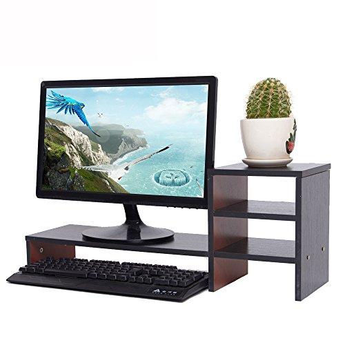 YUMU Bildschirmständer Holz, Monitorständer, Bildschirmerhöhung, Computer Tisch, Laptop Tisch, Schreibtischaufsatz, Desktop organizer für Büro und Studierenden in Schwarz MY1005