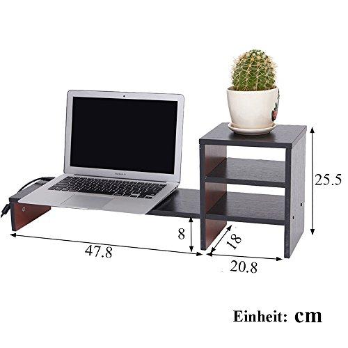 YUMU Bildschirmständer Holz, Monitorständer, Bildschirmerhöhung, Computer Tisch, Laptop Tisch, Schreibtischaufsatz, Desktop organizer für Büro und Studierenden in Schwarz MY1005 - 3