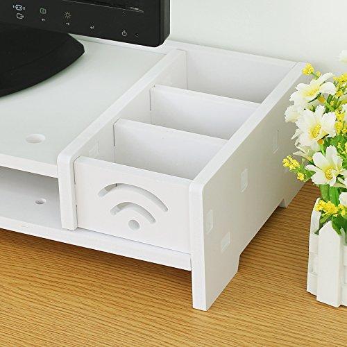 ESYNIC Desktop Monitor Stand Universal Desktop Monitor Ständer Wasserdichte und feuchtigkeitsbeständig Monitorständer für Desktop Schreibtisch - Monitor LCD TV Fernsehapparat Laptop Computer Schirm - Weiß - 5