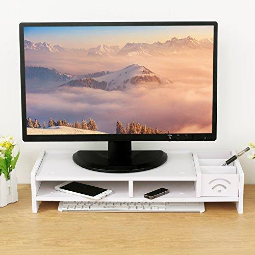 ESYNIC Desktop Monitor Stand Universal Desktop Monitor Ständer Wasserdichte und feuchtigkeitsbeständig Monitorständer für Desktop Schreibtisch - Monitor LCD TV Fernsehapparat Laptop Computer Schirm - Weiß - 8