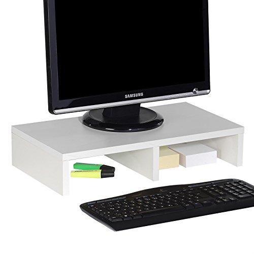 CARO-Möbel Monitorständer MONITOR Schreibtischaufsatz Bildschirmerhöhung in weiß 50 x 10 x 27 cm (B x H x T) - 2