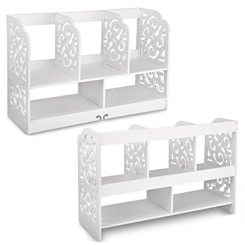 Finether kleines Regal Bücherregal Aufsatzregal Aufbewahrungsregal Tisch-Organizer für Wohnzimmer Badezimmer zur Aufbewahrung von BücherDekoartikel Toilettenartikel Kosmetik aus WPC wasserdicht 60 x 22 x 38 cm weiß - 4