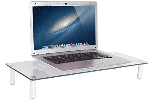 DIGITUS Universal Glas Monitorerhöhung, 13-32 Zoll, 8cm Erhöhung, 56 x 21 x 8 cm, bis 20kg, Durchsichtig/Silber - 5