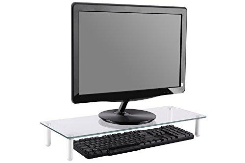 DIGITUS Universal Glas Monitorerhöhung, 13-32 Zoll, 8cm Erhöhung, 56 x 21 x 8 cm, bis 20kg, Durchsichtig/Silber - 6