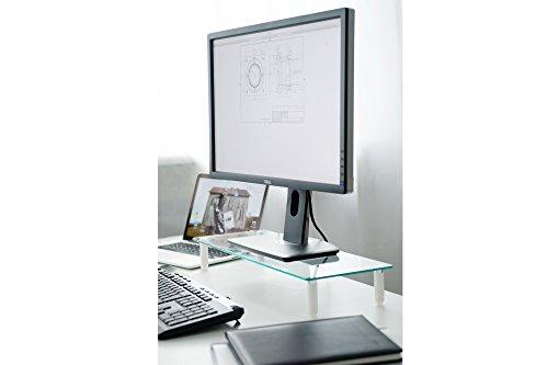 DIGITUS Universal Glas Monitorerhöhung, 13-32 Zoll, 8cm Erhöhung, 56 x 21 x 8 cm, bis 20kg, Durchsichtig/Silber - 8