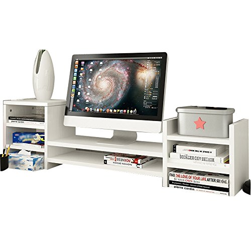 SURRORT LCD-Bildschirm Multilayer Base Multifunktions-Desktop-Speicher Rack Hölzerne Größe 97 * 20 * 28cm ( Farbe : 2# )
