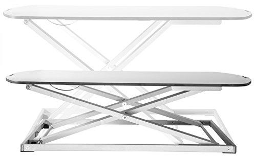RICOO Universal Sitz Steh Monitor Halterung TS1111 Schreibtischaufsatz Höhenverstellbar Ergonomie Gasfeder Ultra Flach Bildschirm Monitorstand Weiss Silber - 3