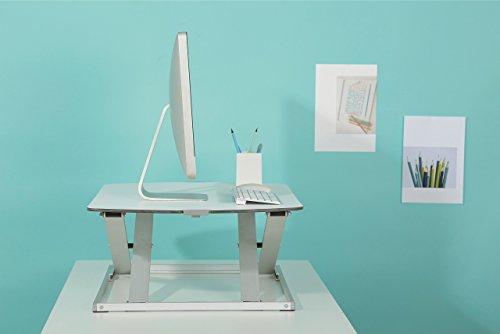 RICOO Universal Sitz Steh Monitor Halterung TS1111 Schreibtischaufsatz Höhenverstellbar Ergonomie Gasfeder Ultra Flach Bildschirm Monitorstand Weiss Silber - 8
