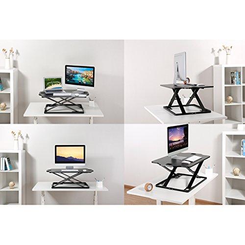 PUTORSEN Höhenverstellbar Sitz Steh Schreibtisch Computertisch    Schreibtischaufsatz Steharbeitsplatz Standtisch   Tabletop Stehpult  Konverter
