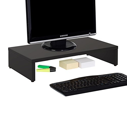 CARO-Möbel Monitorständer MONITOR Schreibtischaufsatz Bildschirmerhöhung in schwarz 50 x 10 x 27 cm (B x H x T)