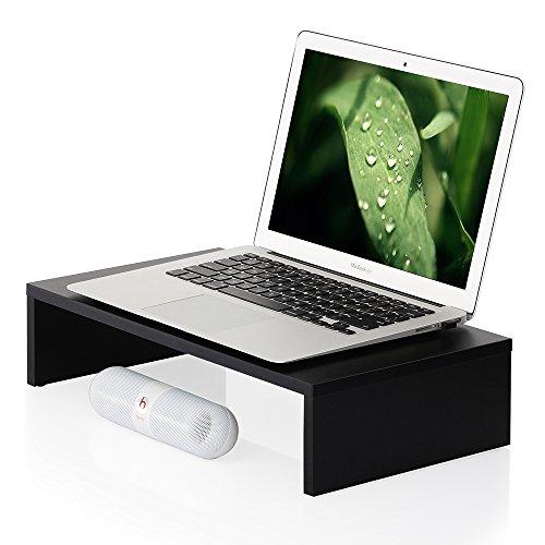 FITUEYES Monitorständer aus Holz 42,5x23,5x10cm schwarz mit Stauraum DT104201MB