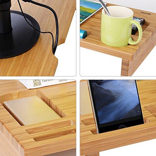 HOMFA Bambus Bildschirmständer Monitorständer Schreibtischaufsatz Bildschirmerhöher als Desktop Organizer Ständer mit Zusätzlicher Stauraum 60*30*8.5cm - 4