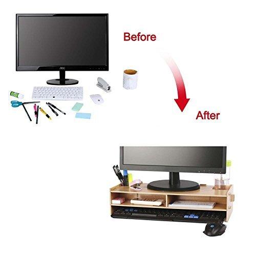 crayfomo Holz Monitor Ständer DIY Verbindung Bildschirmerhöher Schreibtischregal für Laptops, Drucker Oder Monitor, iMac, LCD TV Geräte,Schreibtisch Organizer mit Zusätzlicher Stauraum