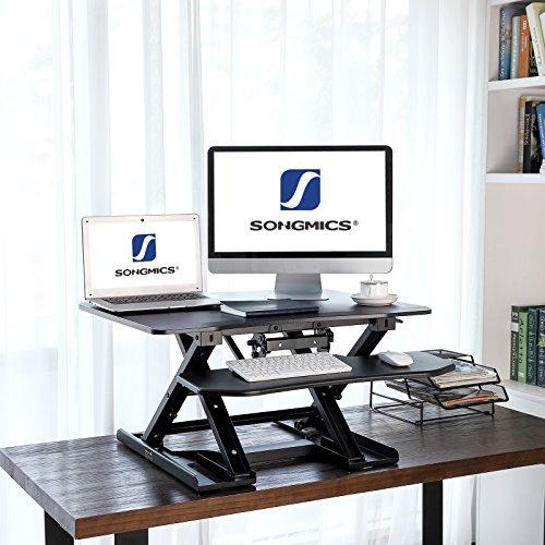 SONGMICS Sitz-Steh-Schreibtisch Höhenverstellbarer Aufsatz Laptop-Ständer Monitorständer Schnell Zum Stehen Einstellen Abnehmbaren und winkeleinstellbaren Tastaturablage 80 x 62 cm Schwarz LSD08B - 3